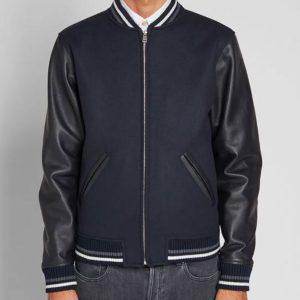 blouson-copper-a.p.c-blue-and-black-varsity-jacket