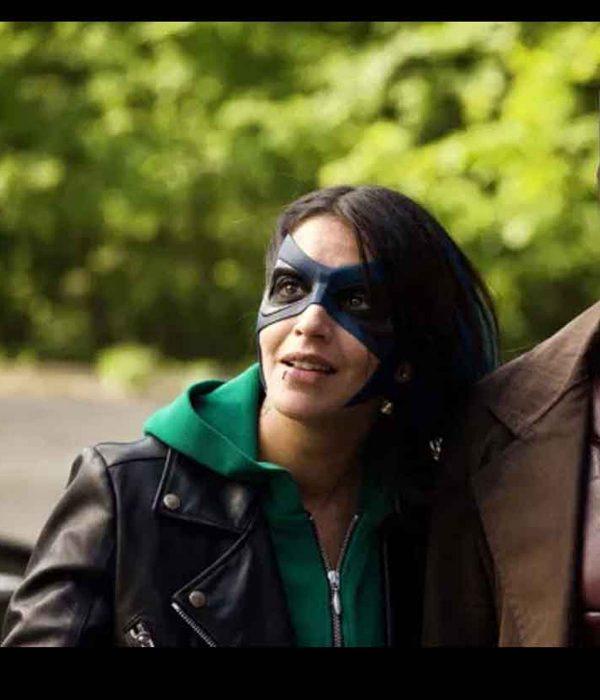 how-i-became-a-super-hero-leïla-bekhti-leather-jacket