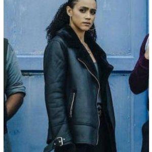 nathalie-emmanuel-army-of-thieves-shearling-jacket