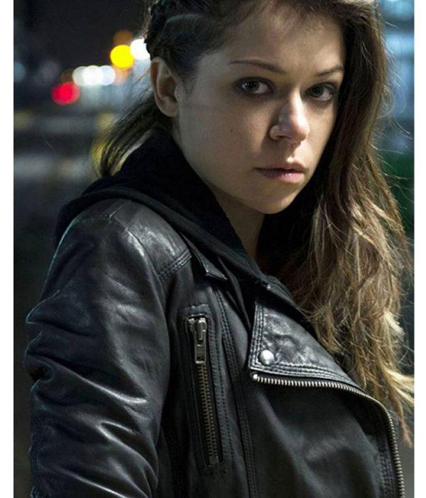 sarah-manning-black-leather-jacket