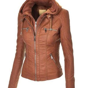 womens-zip-up-brown-faux-leather-jacket-with-hood