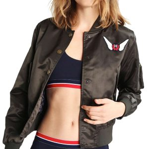 gigi-hadid-h-brown-bomber-jacket
