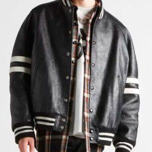 homme-striped-black-leather-bomber-jacket